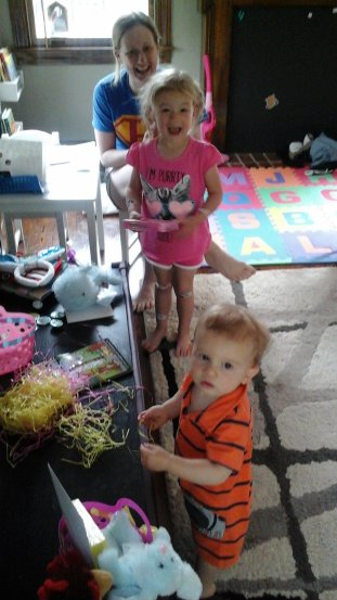 Kallia and Kayden with their Easter baskets