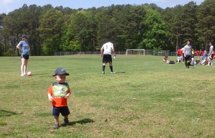 Melja, Kevan and Kayden at the soccer field